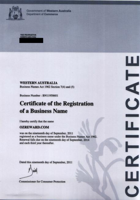 OzReward.com Certificate